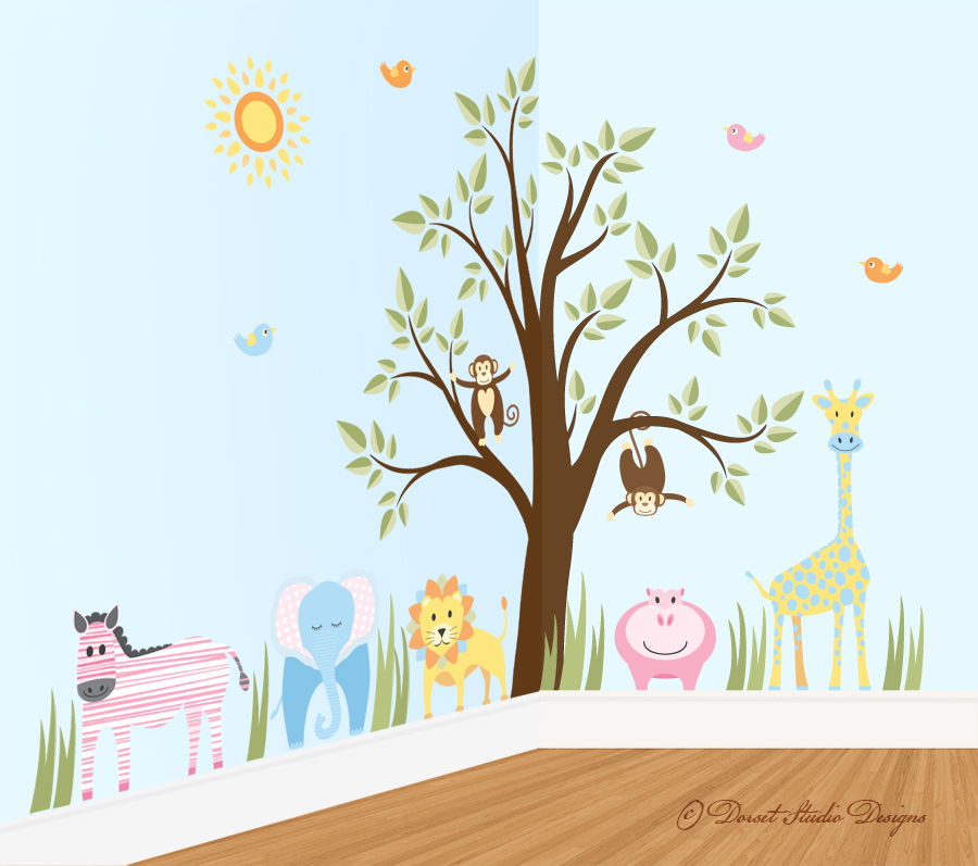 jungle decal wall sticker children's kids _ sue hutchings at dorset studio designs