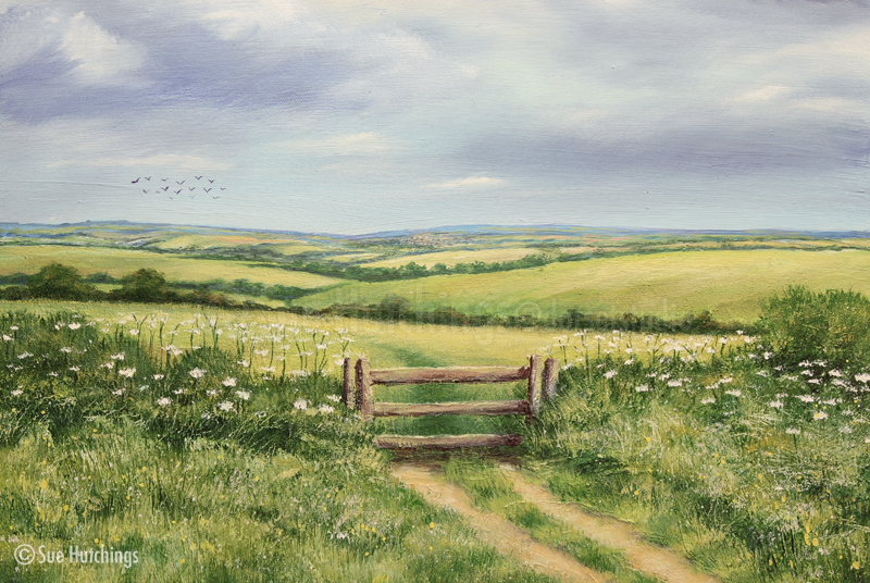 Through the gate,  dorset landcape by sue hutchings at dorset studio