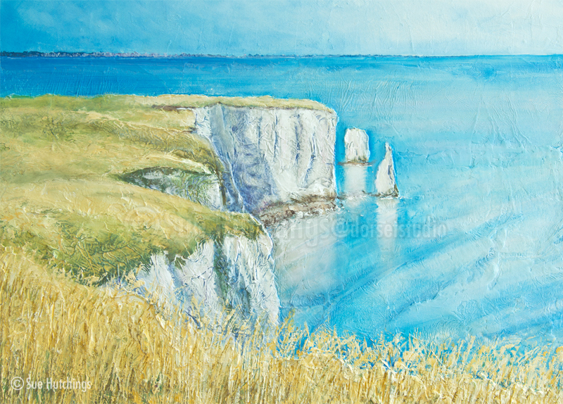 old harry rocks textured acrylic by sue hutchings at dorset studio