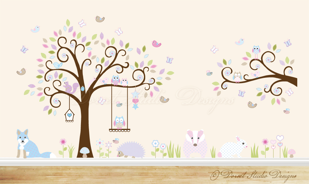 Woodland wall stickers by dorset studio designs with a tree complete with fox, badger, hedgehog, squirrel, bunny rabbit, insects, owls, birds, butterflies, flowers and mushrooms. Pink and blue themed extra large sized decal.