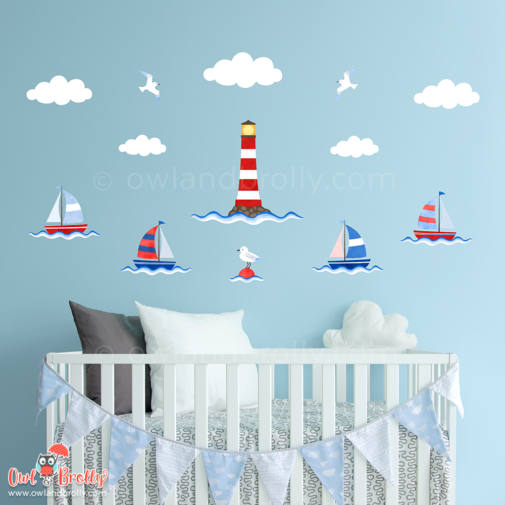 Boat and Lighthouse Wall Stickers by Owl and Brolly