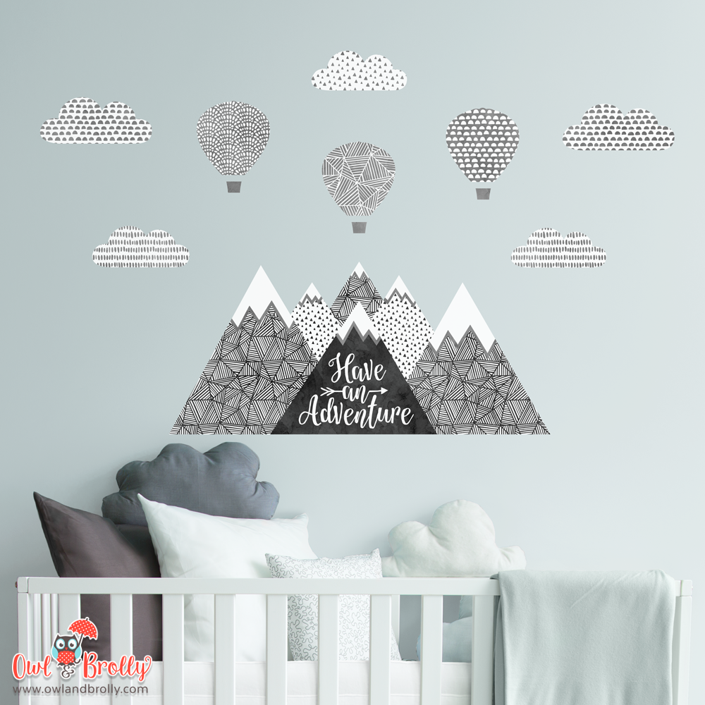 Mountains Hot Air Balloons Wall Sticker by Owl and Brolly