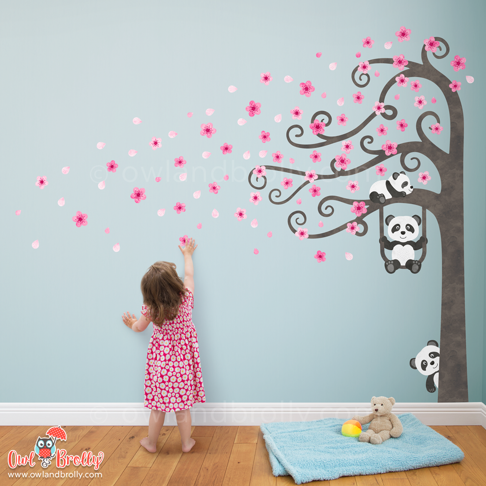 Panda Wall Stickers Blossom Tree by Owl and Brolly