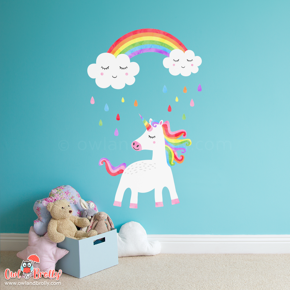 Unicorn and Rainbow Wall Sticker by Owl and Brolly