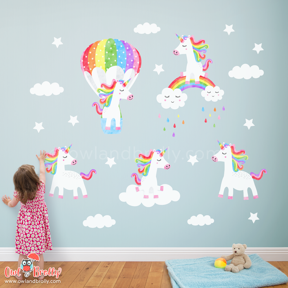 Unicorns Wall Sticker by Owl and Brolly