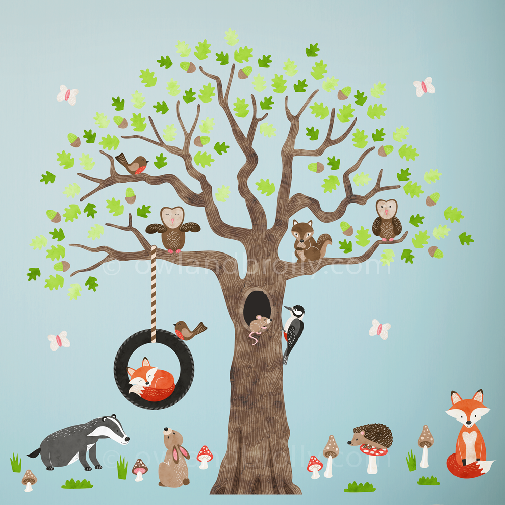 Woodland Animal Nursery Wall Stickers by owlandbrolly.com